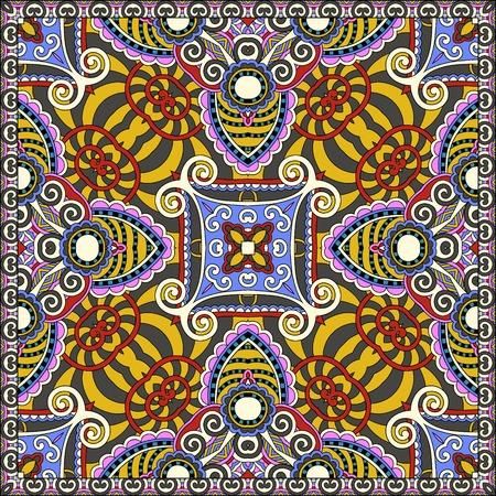 kerchief: silk neck scarf or kerchief square pattern design in ukrainian karakoko style for print on fabric.