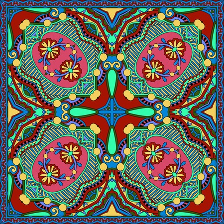 sarong: silk neck scarf or kerchief square pattern design in ukrainian karakoko style for print on fabric, illustration