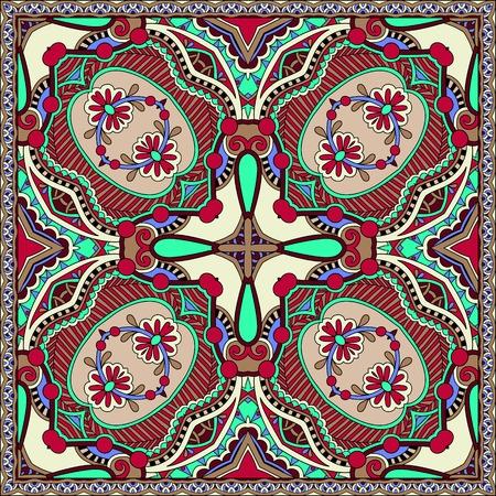 silk neck scarf or kerchief square pattern design in ukrainian karakoko style for print on fabric, illustration
