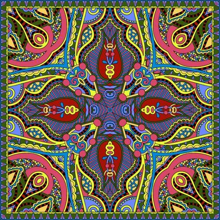 headscarf: silk neck scarf or kerchief square pattern design in ukrainian karakoko style for print on fabric, illustration