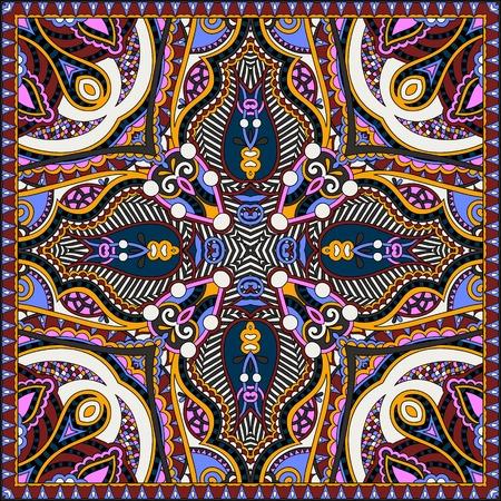 kerchief: silk neck scarf or kerchief square pattern design in ukrainian karakoko style for print on fabric, illustration