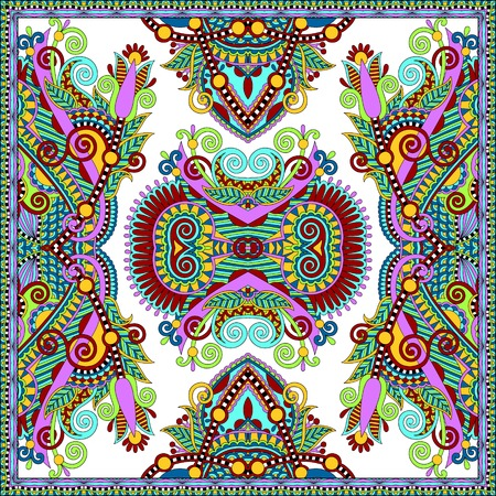 voile: silk neck scarf or kerchief square pattern design in ukrainian karakoko style for print on fabric