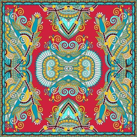 neck scarf: silk neck scarf or kerchief square pattern design in ukrainian karakoko style for print on fabric