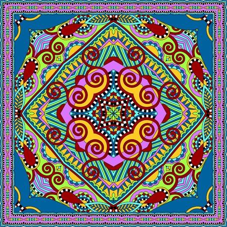 kerchief: silk neck scarf or kerchief square pattern design in ukrainian karakoko style for print on fabric