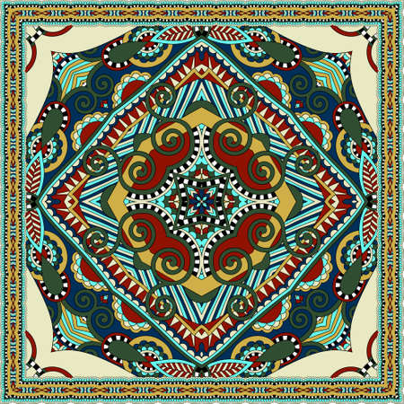 silk neck scarf or kerchief square pattern design in ukrainian karakoko style for print on fabric