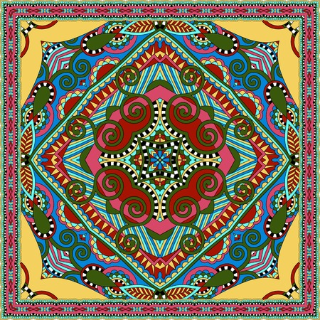 hanky: silk neck scarf or kerchief square pattern design in ukrainian karakoko style for print on fabric