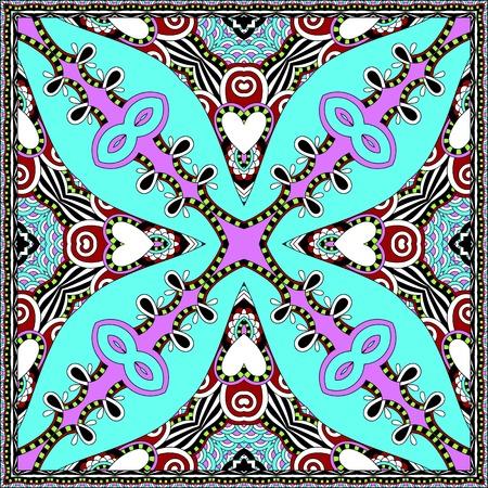 silk hat: silk neck scarf or kerchief square pattern design in ukrainian karakoko style for print on fabric, vector illustration