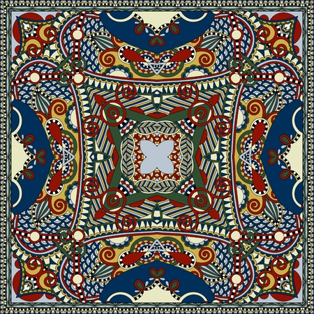 kerchief: silk neck scarf or kerchief square pattern design in ukrainian karakoko style for print on fabric, vector illustration
