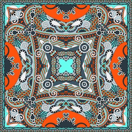 kerchief: silk neck scarf or kerchief square pattern design in ukrainian karakoko style