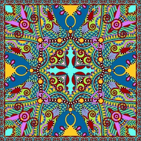 neck scarf: silk neck scarf or kerchief square pattern design in ukrainian karakoko style for print on fabric, vector illustration