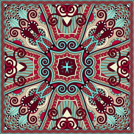 neck scarf: silk neck scarf or kerchief square pattern design