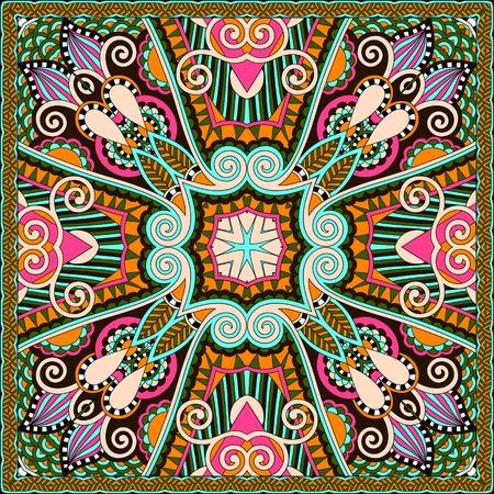 neck scarf: silk neck scarf or kerchief square pattern Illustration