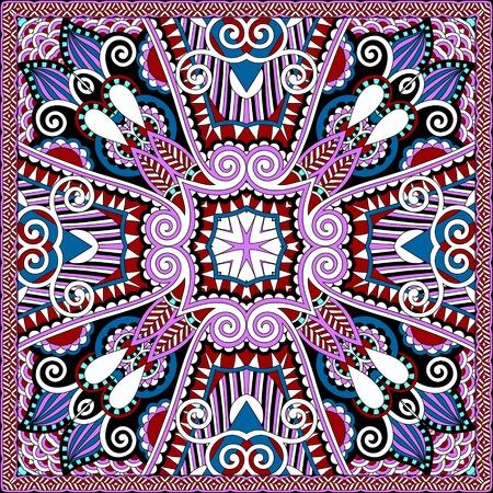 hanky: silk neck scarf or kerchief square pattern Illustration