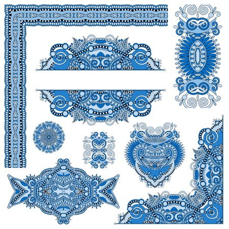 floral corner: set of paisley floral design elements for page decoration