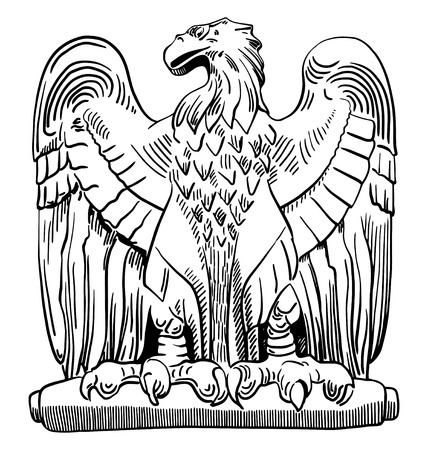 gryphon: black and white sketch digital drawing of heraldic sculpture eagle in Rome, Italy, vector illustration
