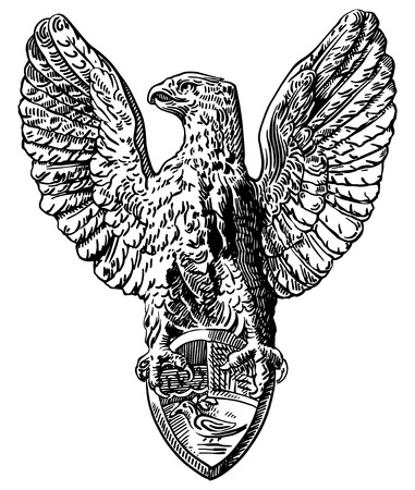black and white sketch digital drawing of heraldic sculpture eagle in Rome, Italy, vector illustration Vector
