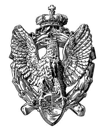 black and white sketch digital drawing of heraldic sculpture eagle in Rome, Italy, vector illustration