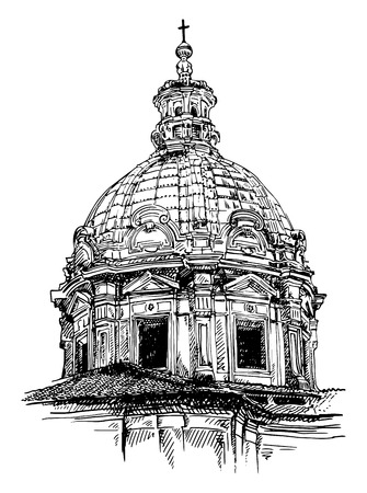 black and white sketch drawing of old basilica from Rome, Italy, vector illustration Vector