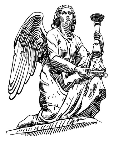 archangel: black and white sketch drawing of marble statue angel from Rome, Italy, vector illustration