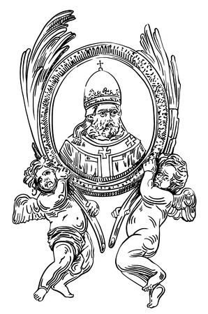 black and white ink drawing of frame with two angel and portrait of priest in St. Peters Cathedral, Rome, Vatican, Italy, vector illustration Ilustrace