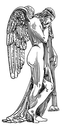 black and white digital sketch drawing of marble statue sad angel in St. Peters Cathedral, Rome, Vatican, Italy, vector illustration