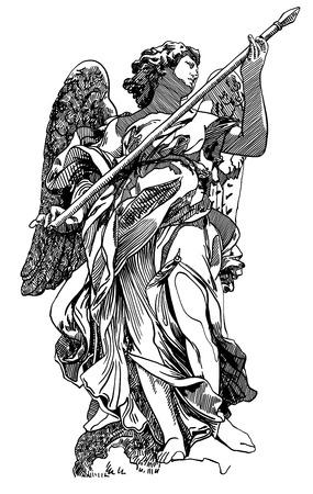 Ursprünglichen Skizze digitale Zeichnung Marmorstatue des Engels von der Brücke Sant'Angelo in Rom, Italien, Vektor-Illustration Standard-Bild - 33148342