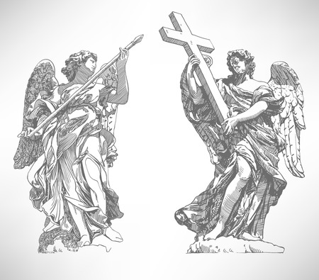 roman catholic: grey original sketch digital drawing of marble statue of two angels from the SantAngelo Bridge in Rome, Italy, vector illustration