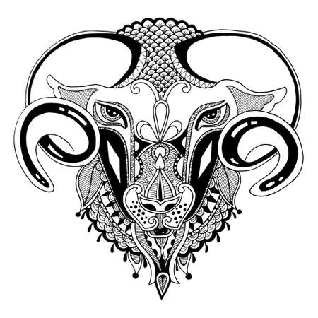 head goat symbol of 2015 year, decorative drawing in ethnic style, vector illustration Vector