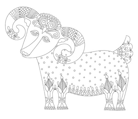 goat symbol of 2015 year, decorative drawing in ethnic style, vector illustration Vector