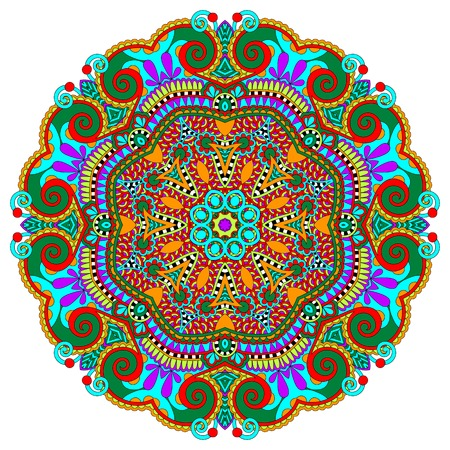 tibet: mandala, circle decorative spiritual indian symbol of lotus flower, round ornament pattern, vector illustration