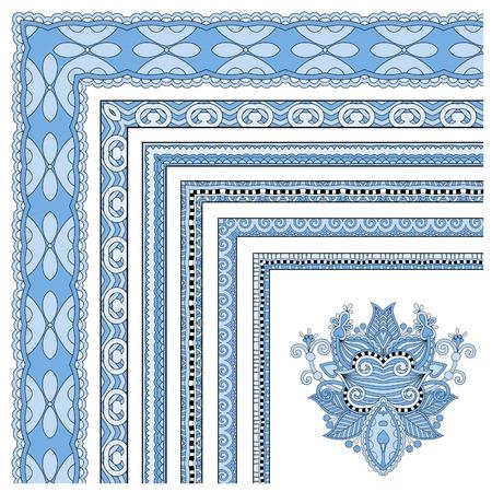 acanthus: blue colour floral vintage frame design. Vector set. All components are easy editable