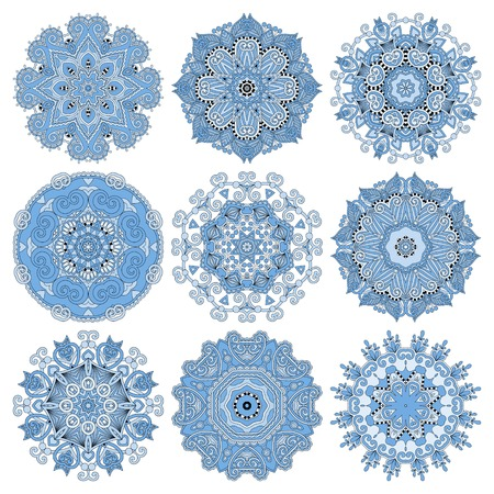 blue colour circle lace ornament, round ornamental geometric doily pattern, vector illustration Vector