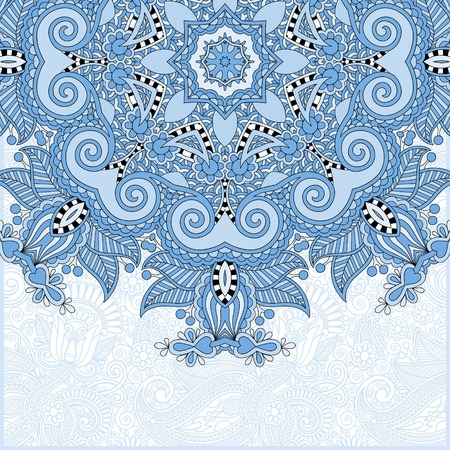 blue colour floral round pattern in ukrainian oriental ethnic style for your greeting card or invitation, template frame design for card, vector illustration Vector