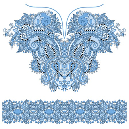 blue colour neckline ornate floral paisley embroidery fashion design, ukrainian ethnic style. Good design for print clothes or shirt. Vector