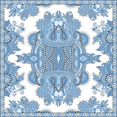 blue colour floral paisley bandanna. Square ornament. You can use this pattern in the design of carpet, shawl, pillow, cushion, vector illustration Vector
