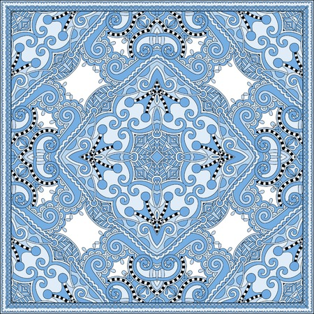 voile: silk blue colour kerchief square pattern design in ukrainian karakoko style for print on fabric, vector illustration Illustration