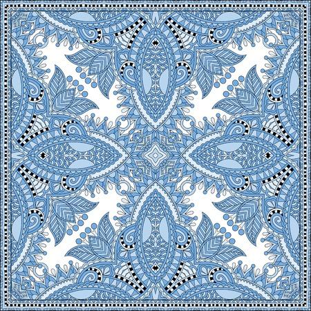robo: azul pañuelo de color patrón de diseño cuadrado de seda de estilo karakoko ucraniano para la impresión sobre tela, ilustración vectorial