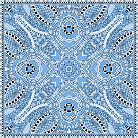 kerchief: silk blue colour kerchief square pattern design in ukrainian karakoko style for print on fabric, vector illustration Illustration