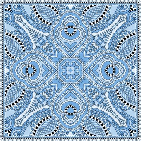 silk blue colour kerchief square pattern design in ukrainian karakoko style for print on fabric, vector illustration Illustration