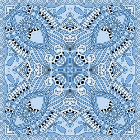 kopftuch: Seide blaue Farbe Kopftuch quadratisches Muster-Design in der ukrainischen karakoko Stil f�r den Druck auf Stoff, Vektor-Illustration Illustration