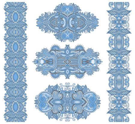 adornment: ornamental floral adornment of blue colour, vector illustration