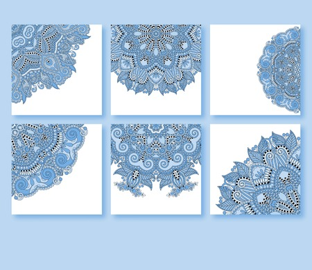 collection of blue colour decorative floral greeting cards in vintage style, ethnic pattern, vector illustration Vector
