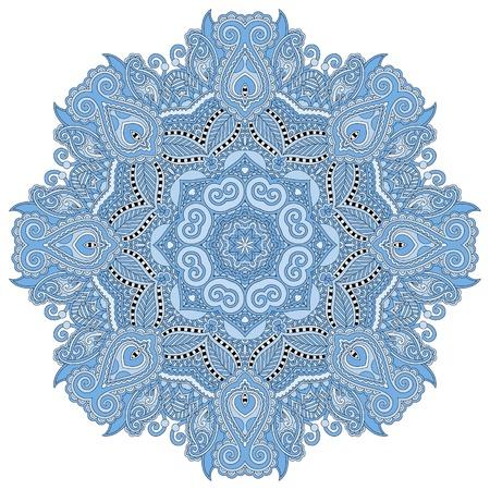 mandala, blue colour circle decorative spiritual indian symbol, round ornament pattern, vector illustration Vector