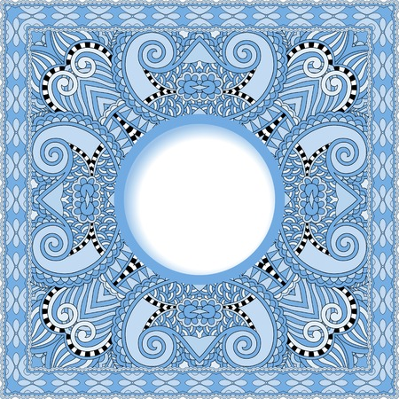 tapis: blue colour floral round pattern in ukrainian oriental ethnic style for your greeting card or invitation, template frame design for card, vintage lace doily Illustration