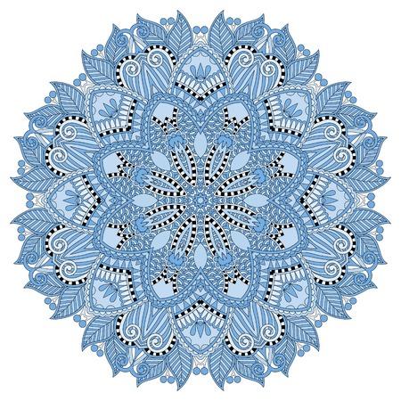 manipura: mandala, blue colour circle decorative spiritual indian symbol, round ornament pattern, vector illustration