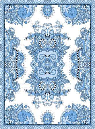 bedspread: blue colour ukrainian floral carpet design for print on canvas or paper, karakoko style ornamental pattern