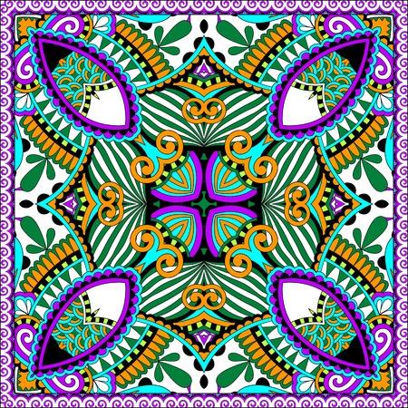 kopftuch: Seidenhalstuch oder Kopftuch Quadratmusterentwurf in der ukrainischen karakoko Stil f�r Druck auf Stoff, Vektor-Illustration
