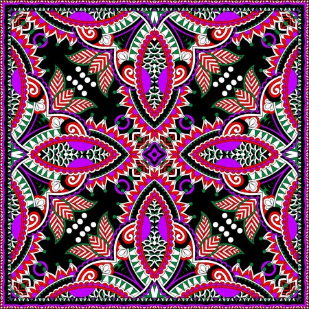 silk neck scarf or kerchief square pattern design in ukrainian karakoko style for print on fabric, vector illustration