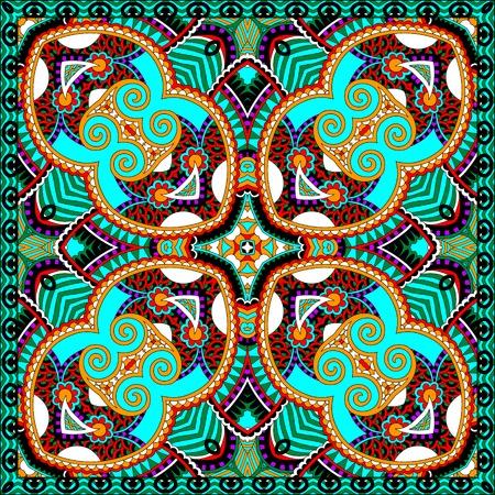 silk neck scarf or kerchief square pattern design in ukrainian karakoko style for print on fabric, vector illustration