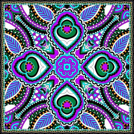 hanky: silk neck scarf or kerchief square pattern design in ukrainian karakoko style for print on fabric, vector illustration